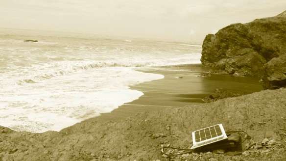 charging up the solar panel at Randal Creek. The far point on the photo is the start of the impassable point at high tide.