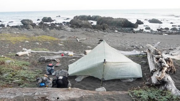 We set up the hexamid on the beach and as we were getting ready for dinner, Louis realized he dropped his lighter back at Randall Creek. We had a cold meal that night and went to bed exhausted. We had hiked about 18 miles in total for the day.
