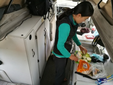 cooking inside the van