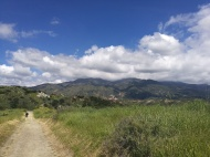 Trail flattens out at the top. To the west is the City of Rancho Santa Margarita and Mission Viejo. To the east are the Saddleback Mountains.